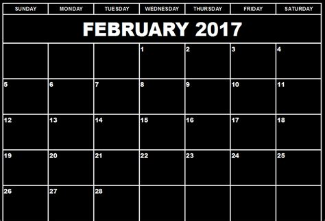 2017 printable calendar template holidays excel word february 2017 printable calendar template holidays excel 2017