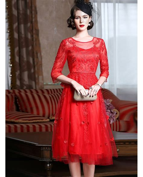 knee length red lace   party dress  wedding guests