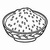 Rice Bowl Steamed Coloring Pudding Vector Illustration Sour Sauce Dumplings Sticky sketch template