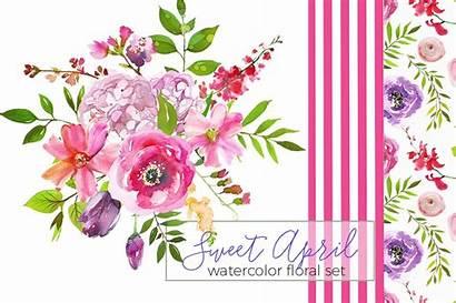 Watercolor Flowers April Sweet Purple Pink Illustrations
