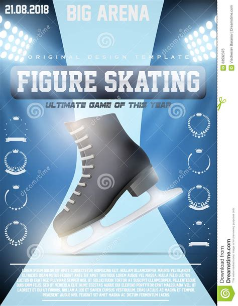 poster template  ice figure skating stock vector image