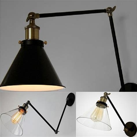 retro industrial loft swing arm lighting vintage wall