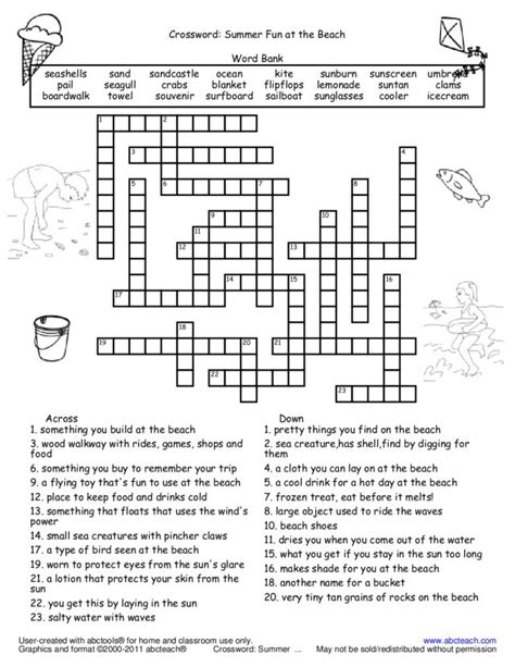 crossword summer at the worksheet for 2nd 5th
