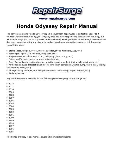 free service manuals online 2000 honda odyssey on board diagnostic system honda odyssey repair manual 1995 2012