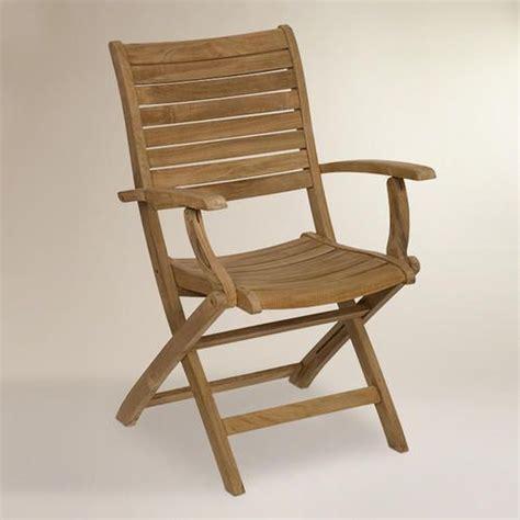 tanjun teak folding armchairs set   world market