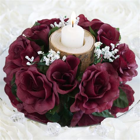 pcs silk roses flowers candle rings wedding tabletop