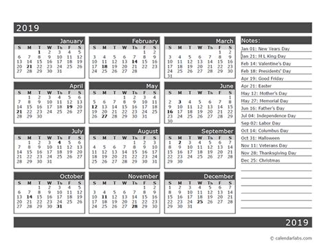 month  page calendar template
