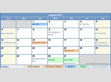 August 2017 Calendar With Holidays calendar printable free
