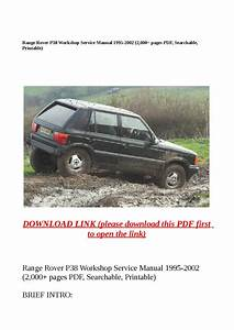 Range Rover P38 Workshop Service Manual 1995 2002  2 000