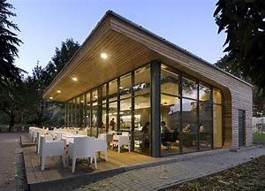 Simple cafe design built in park, the greenery environment ...