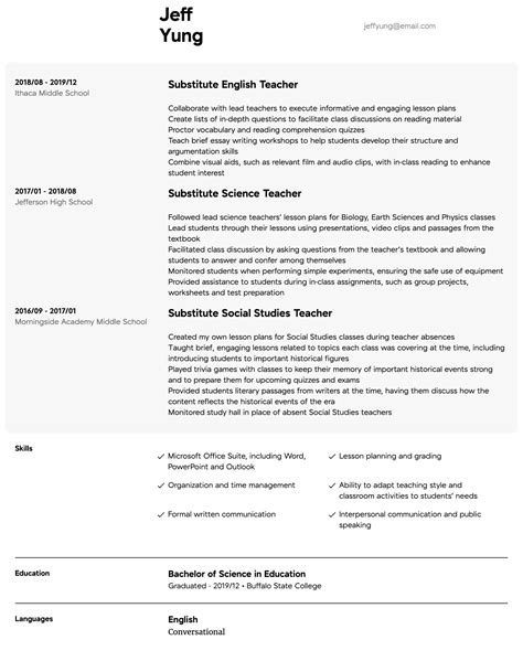 Substitute Teacher Resume Samples | All Experience Levels | Resume.com | Resume.com