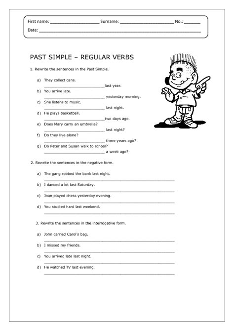 past simple regular verbs worksheet