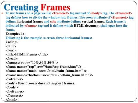 define frame and frame with a exle