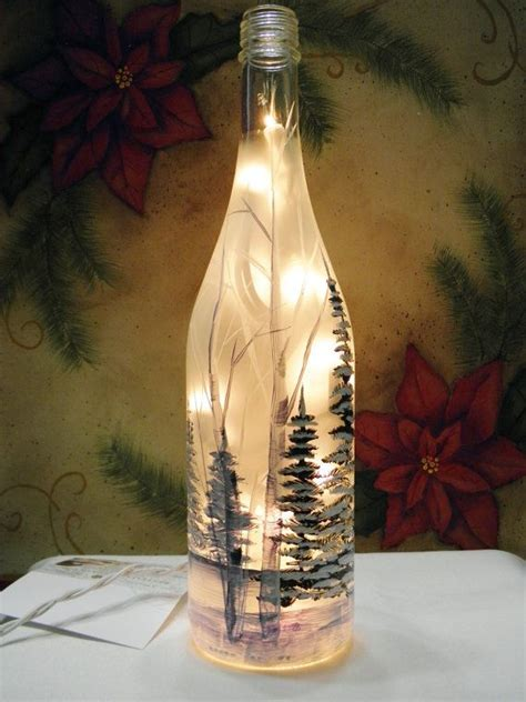 frosted white glass wine bottle light winter sceen night