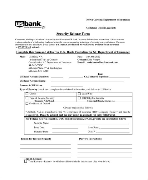 sample bank release form  examples  word
