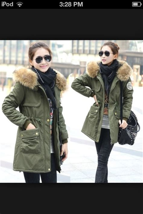 Coat hunter green fur hood fur-trim winter coat - Wheretoget