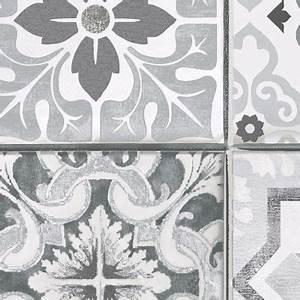 Papier Peint Vinyl Imitation Carrelage : papier peint vinyle sur intiss carreau de ciment gris mat ~ Premium-room.com Idées de Décoration