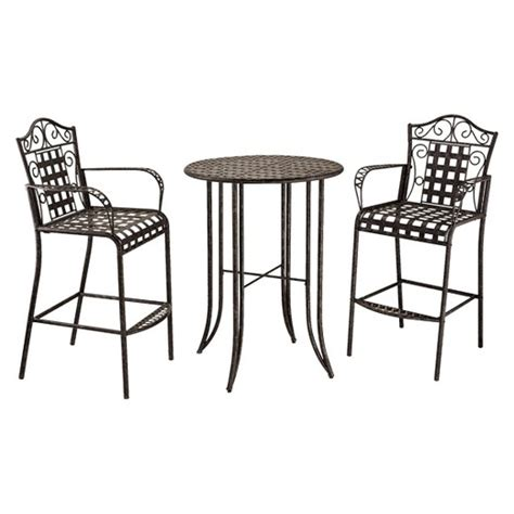 tall outdoor bistro table set mandalay 3 piece iron bar height patio bistro furniture