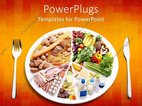 food powerpoint template powerpoint template different types of food in a plate with a fork and knife on the side 9426
