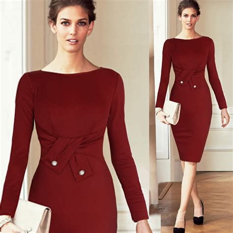 Uk Fashion Women Office Dress 2015 Long Sleeve O Neck