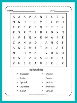 esl vocabulary tests  word search puzzles basic
