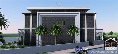 desain masjid modern tampak arah barat rumah desain