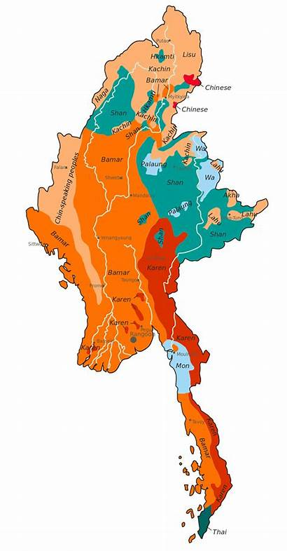 Burma Map Mon Karen Bamar Wikipedia Than