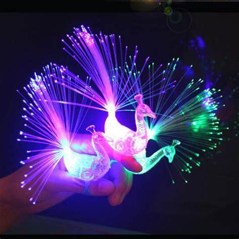 led light up presents novelty design colorful light peacock led light up finger