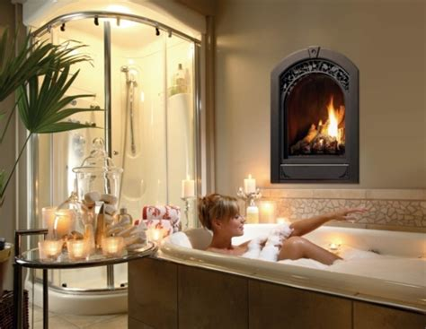 bathroom designs  built  fireplaces romantic