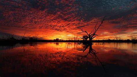 wallpaper sunset lake reflections  nature