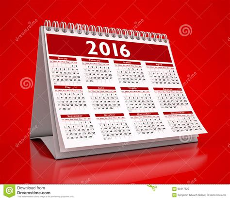 calendrier rouge de bureau 2016 illustration stock image