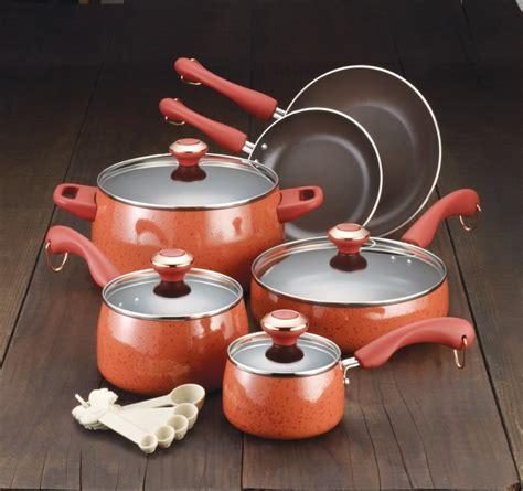 paula deen cookware porcelain pots pans sets piece nonstick pot kitchen coral pan dean commission orange which