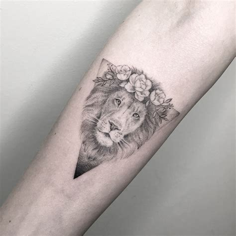 dotwork tattoo  lion  triangle