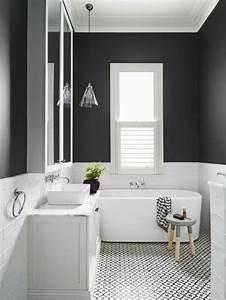idee decoration salle de bain carrelage noir et blanc With salle de bain design avec revue décoration