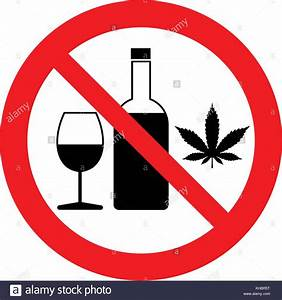 No alcohol and drugs. Alcohol and drugs prohibition sign ...