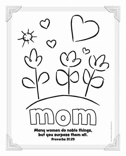 Mother Christian Coloring Mothers Mom Pages Cards
