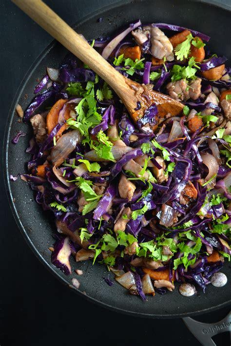 red cabbage sweet potato  chicken stir fry