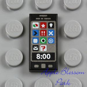 new lego minifig black smart cell phone 1x2 printed tile