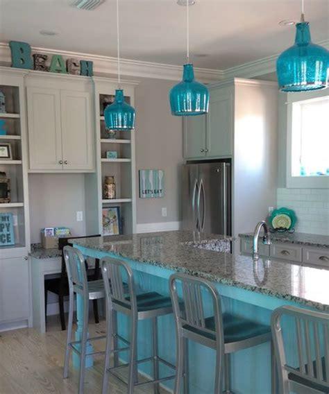 Beachy Blue Kitchen Blue Kitchen Island And Blue Glass