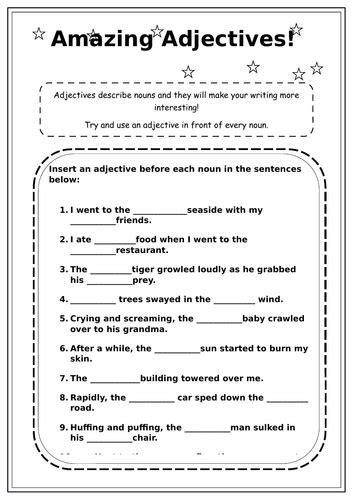 adjectives worksheet ks2 by raveenak1 teaching resources