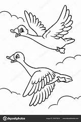 Sky Fly Cartoon Geese Coloring Clouds Flying Efengai sketch template