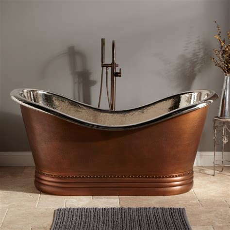 paige hammered copper double slipper tub nickel interior