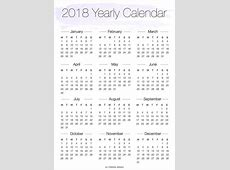 Printable 2018 Yearly Overview Calendar