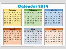 2019 Calendar Template – 10 Free Printable Calendar