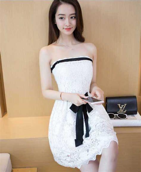 dress cantik putih brokat terbaru  jual model