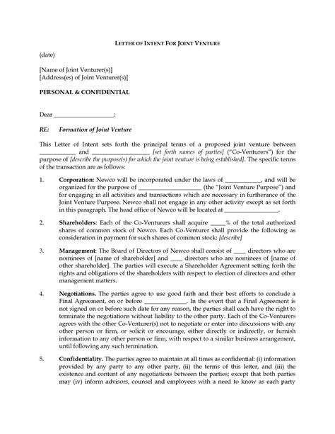 letter of intent for business letter of intent exle mughals