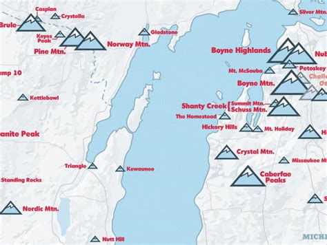 ski map resorts midwest upper poster maps