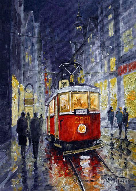 prague old tram 06 painting by yuriy shevchuk