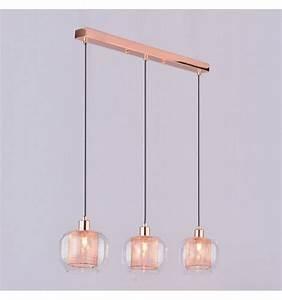 Suspension Filaire Cuivre : suspension cuivre trois verres transparents acacia ~ Teatrodelosmanantiales.com Idées de Décoration