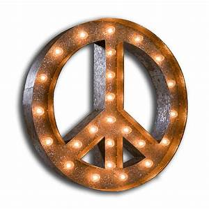 rusty 24 inch peace sign marquee light by vintage marquee With peace marquee letters